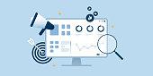 istock SEO analytics optimization desktop dashboard blue flat design. 1253822466