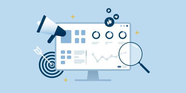 SEO analytics optimization desktop dashboard blue flat design. SEO analytics optimization desktop dashboard blue flat design. marketing stock illustrations
