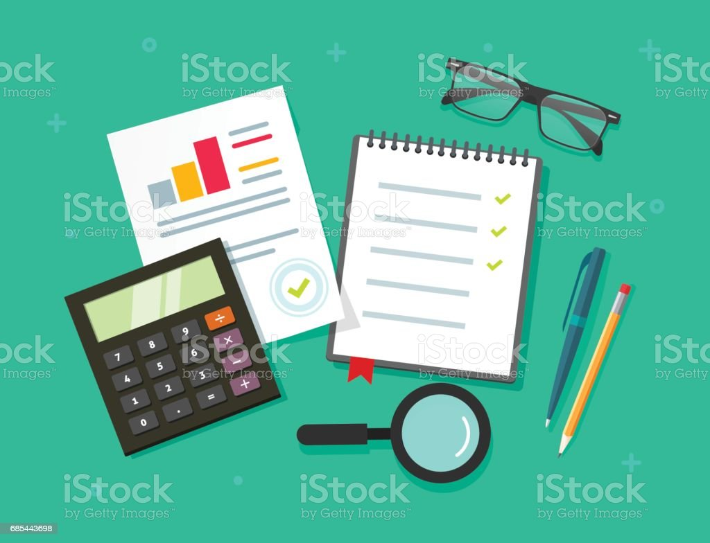 Analytics planning things data on table top view, audit evaluation process, financial research report with graphs, analyzing, survey or checklist on notebook vector flat cartoon style vector art illustration