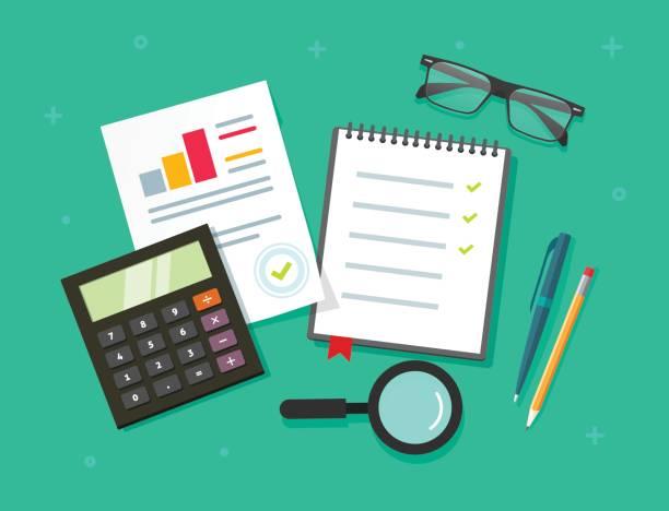 テーブル トップ ビューで計画ものデータ分析監査評価プロセス、ノート ベクトル フラット漫画スタイル グラフや分析、調査チェックリストと金融研究報告 - ファイナンシャルアドバイザー点のイラスト素材/クリップアート素材/マンガ素材/アイコン素材