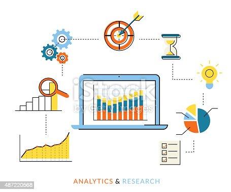 Flat contour illustration of analytics process with laptop and symbols
