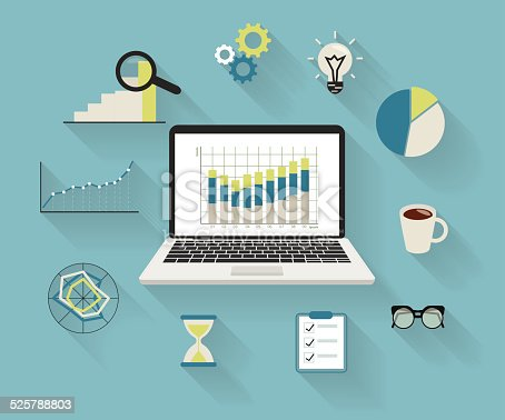 Flat modern illustration of analytics process with laptop and symbols on long shadows