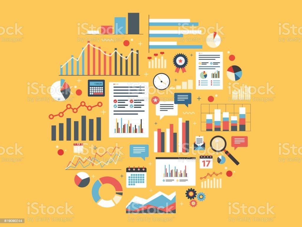 Analytics round illustration with charts. vector art illustration