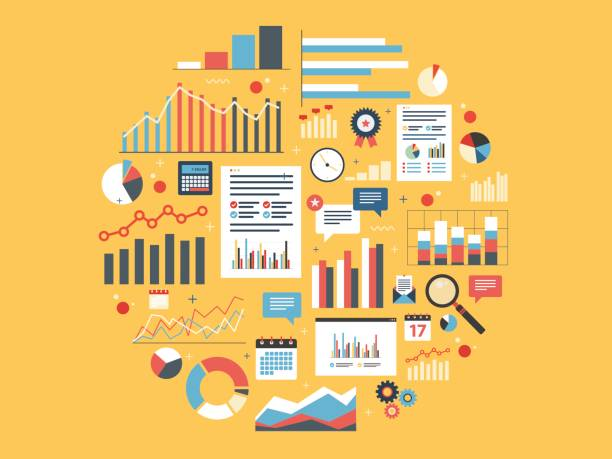 Analytics round illustration with charts. Chart with statistics and data, statistic analytics and growth report. Icons in vector illustration of calculator, chart, magnifying glass and calendar. Concepts finance, business and strategy. market research stock illustrations
