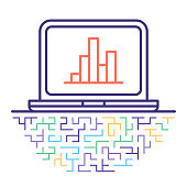 Line vector icon illustration of analytics tools and solutions with abstract lines background.