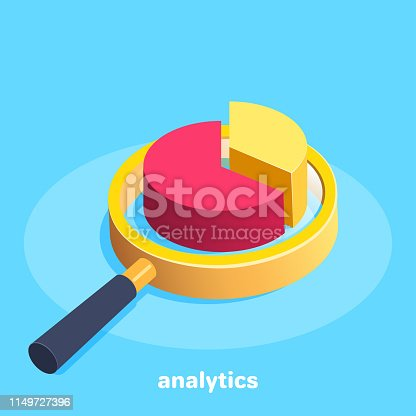 isometric vector image on a blue background, a magnifying glass with a pie chart in the center, the collection and processing of financial analytical information in business