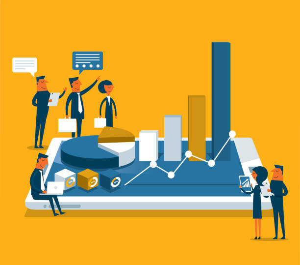 Analysieren von Daten - Geschäftsleute – Vektorgrafik