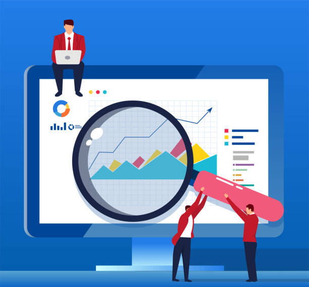 analyze data with a magnifying glass in front of the computer screen - lupa sprzęt optyczny stock illustrations