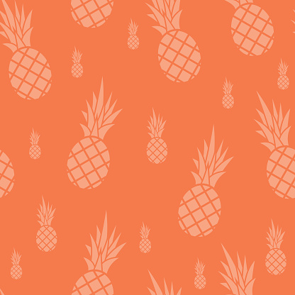Ananas seamless pattern Coral Background