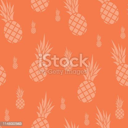 Vector illustration of ananas in a seamless pattern coral background