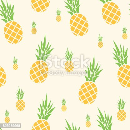 Vector illustration of ananas in a seamless pattern