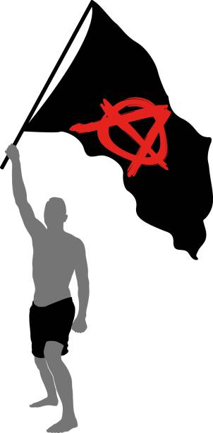 anarchist symbol male with anarchist symbol on black flag anarchy symbol stock illustrations
