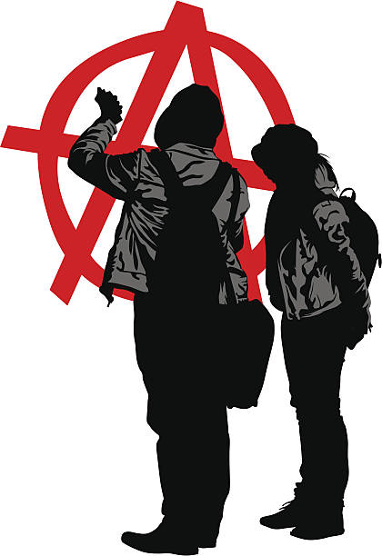 Anarchy couple Vector drawing of anarchists with large sign anarchy symbol stock illustrations