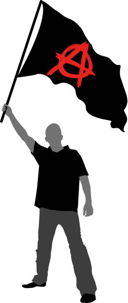 anarchy flag man holding a flag with anarchy symbol anarchy symbol stock illustrations