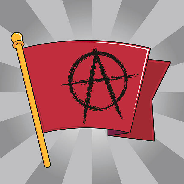 Anarchy Flag (Red) A vector recreation of Red Flag with an Anarchy Symbol done in Poster Art style. anarchy symbol stock illustrations