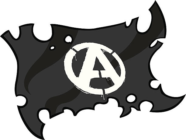 Anarchy Flag Punk rockin' with this anarchist flag. Illustration of a torn flag. Anarchy stencil and flag are grouped on different layers for easy editing. Plenty of space for text/copy. anarchy symbol stock illustrations