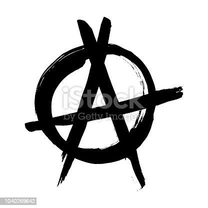 Anarchy Hand Drawn Brush Vector Symbol Anarchist Revolution Grunge
