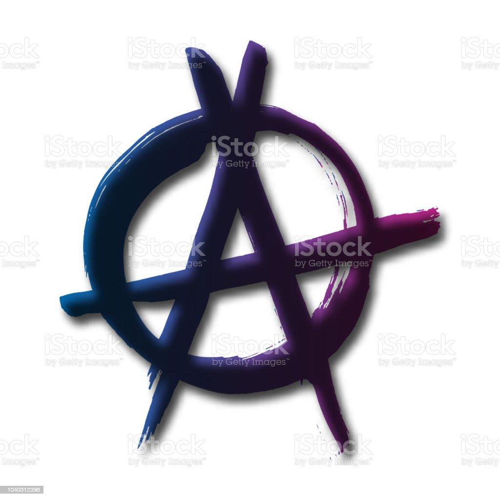 Anarchy Hand Drawn Brush Vector Symbol On White Background Anarchist