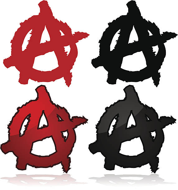 Anarchy symbol Symbol of the anarchist movement, a capital A on top of a circle anarchy symbol stock illustrations
