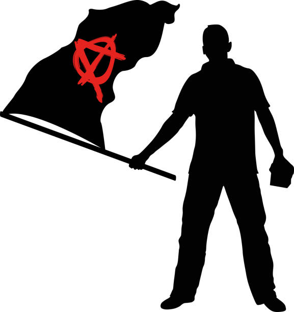 anarchy man with anarchy flag anarchy symbol stock illustrations