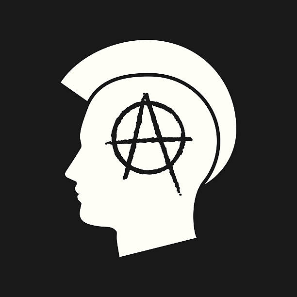 anarchy-02 Illustration of an isolated punk head icon anarchy symbol stock illustrations
