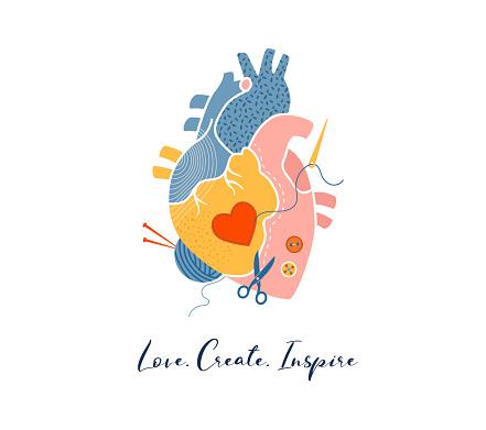 Anatomical heart, modern print design, art work, vector design and illustration