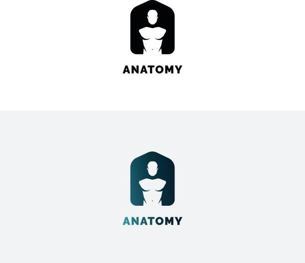 Anatomy emblem with human torso. Negative space A letter symbol. vector art illustration
