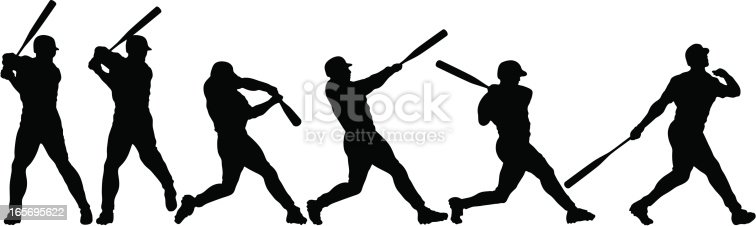 6 silhouettes breakdown of a baseball swing. Simple shapes for easy printing, separating and color changes. File formats: EPS and JPG