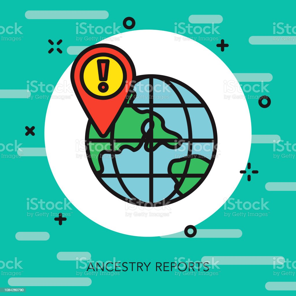 Ancestry Report Thin Line Genetic Testing Icon Stock