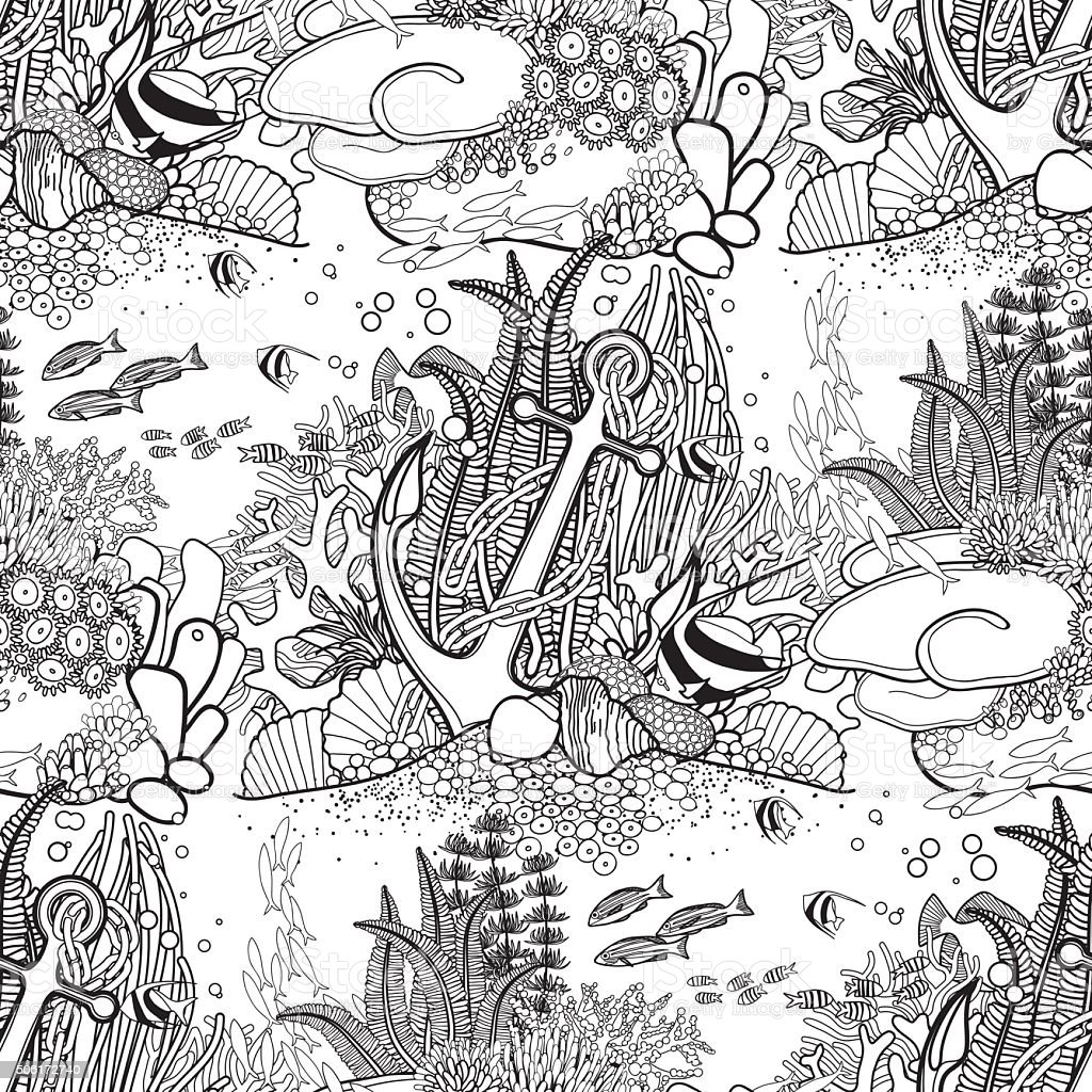 Anchor and coral reef pattern vector art illustration