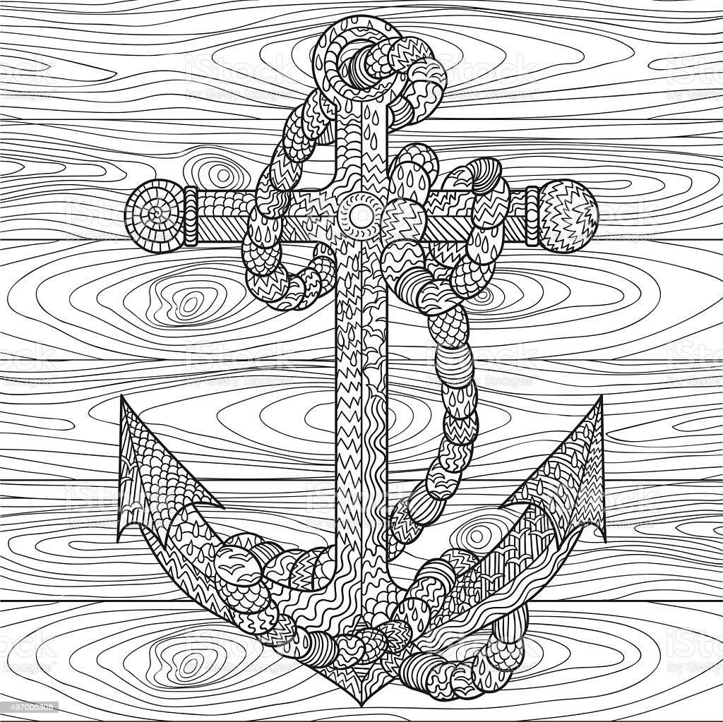 Anti stress coloring images - Anchor And Rope In For Antistress Coloring