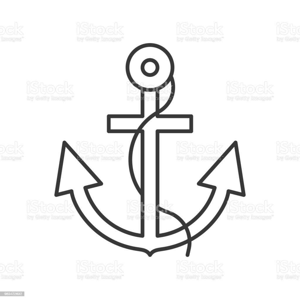 Anchor and rope outline icon on white background - Grafika wektorowa royalty-free (Bez ludzi)