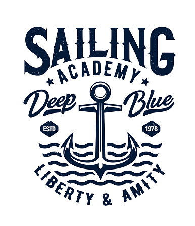 Anchor and sea waves t-shirt print mockup
