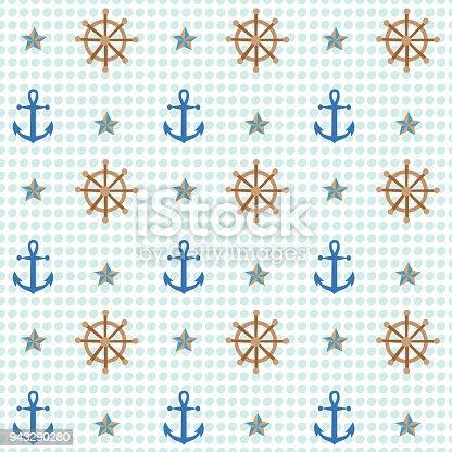istock Anchor and shipwheel nautical pattern 943290280