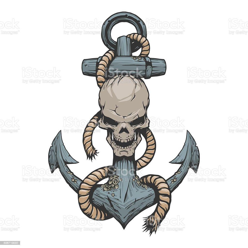 Anchor and skull vector art illustration