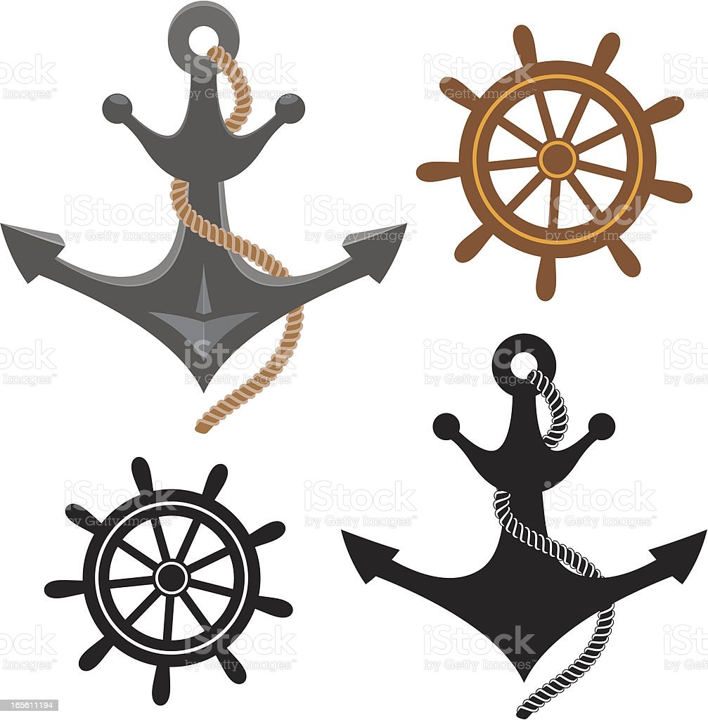 Anchor and steering wheel royalty-free anchor and steering wheel stock vector art & more images of anchored