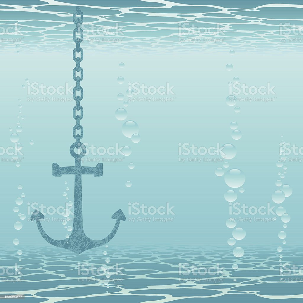 Anchor and underwater vector art illustration