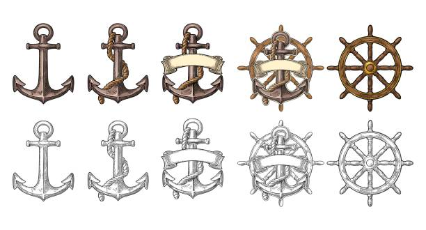Anchor and wheel with ribbon isolated on beige background. vector art illustration