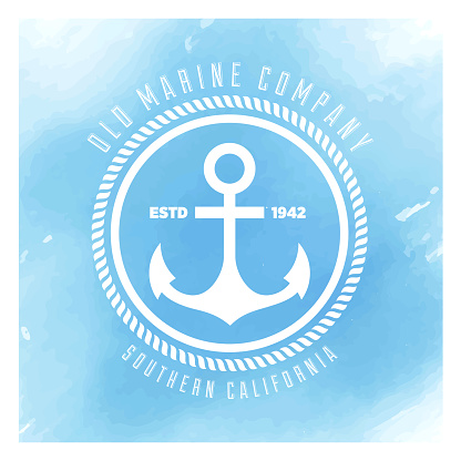 Anchor Badge Watercolor Background
