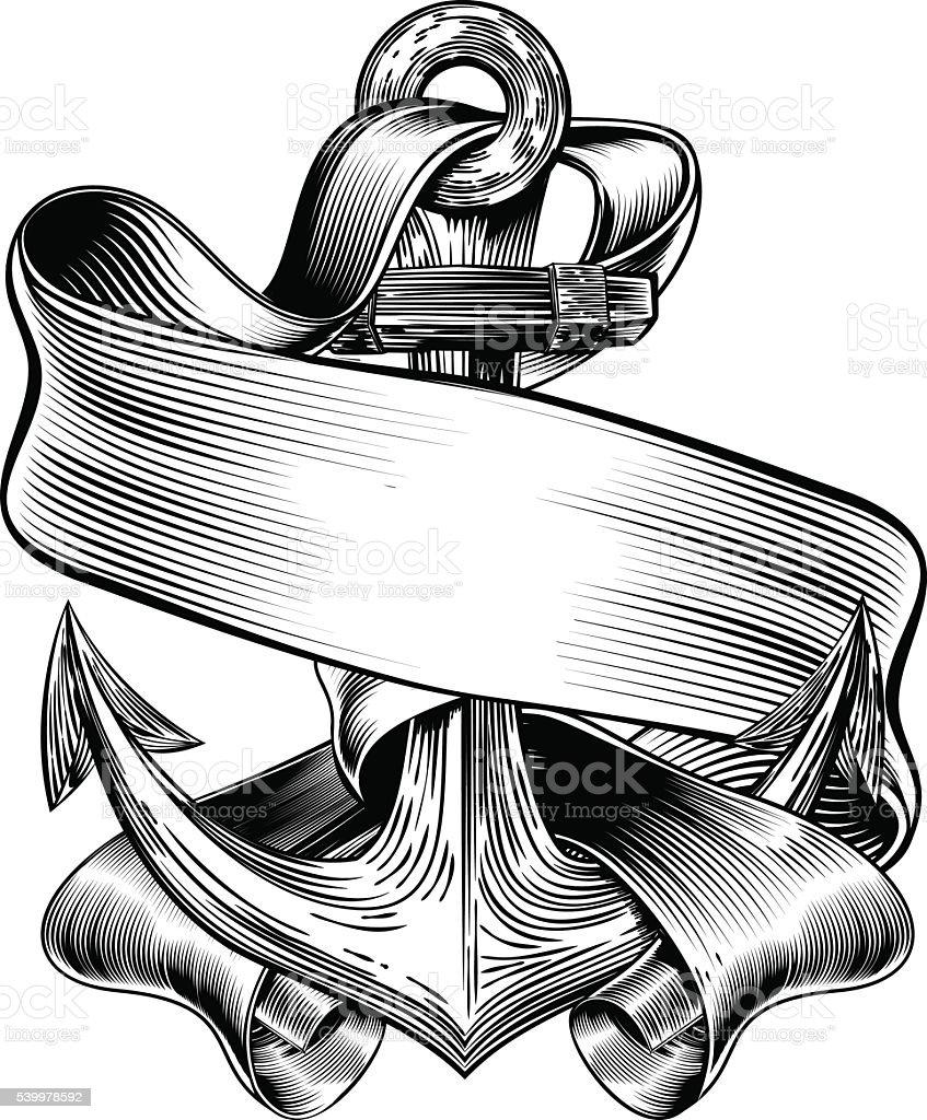 Anchor BAnner Vintage Woodcut vector art illustration