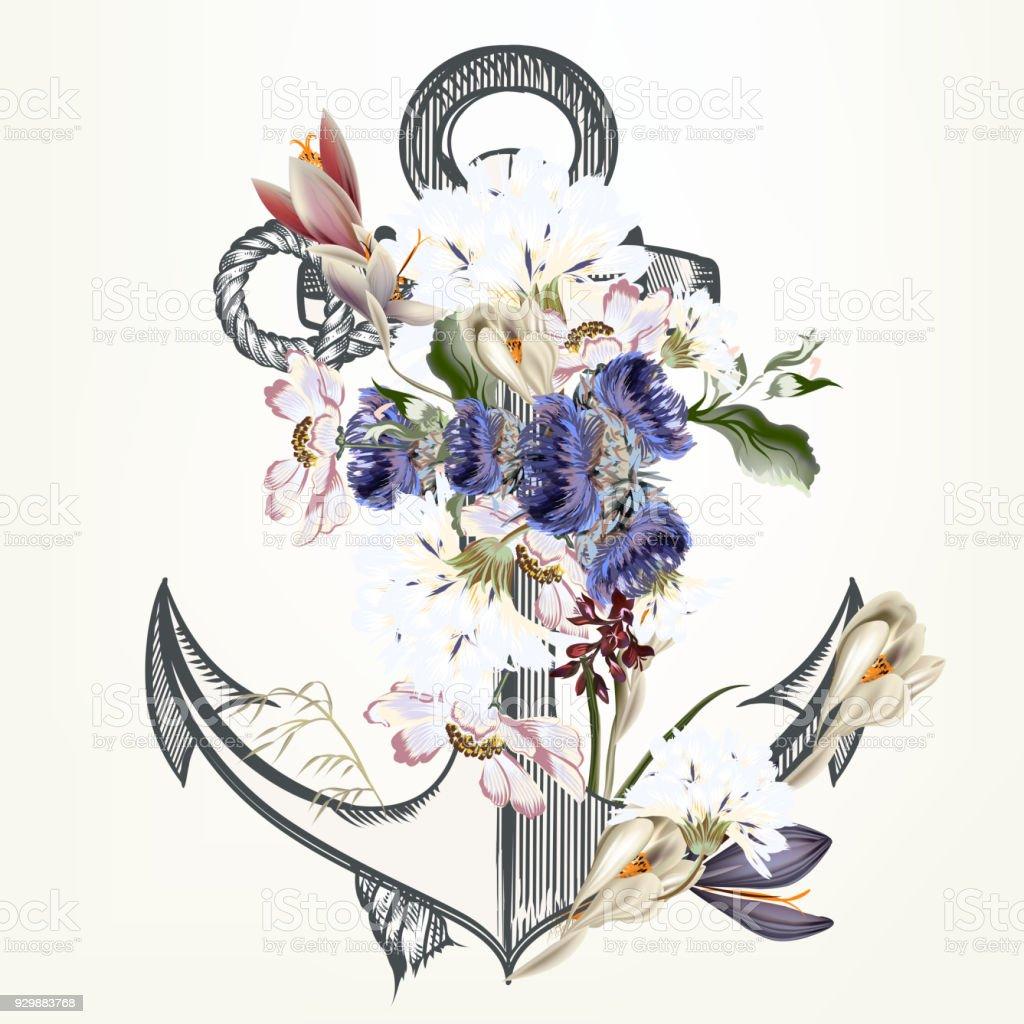 Ilustracion De Anclaje Decorada Con Flores Ideales Para Etiquetas De