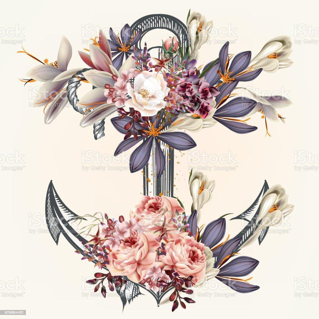 Ilustracion De Ancla De Decorado Por Flores De Primavera Ideales
