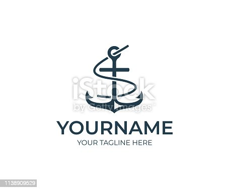 Anchor design. Marine vector design. Nautical illustration