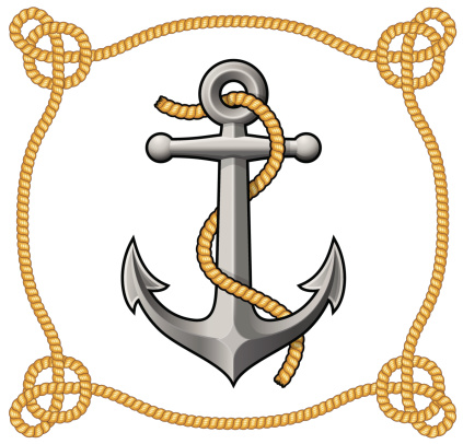 Anchor design with rope and label