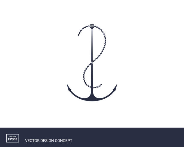 Anchor emblem. Yacht style design. vector art illustration