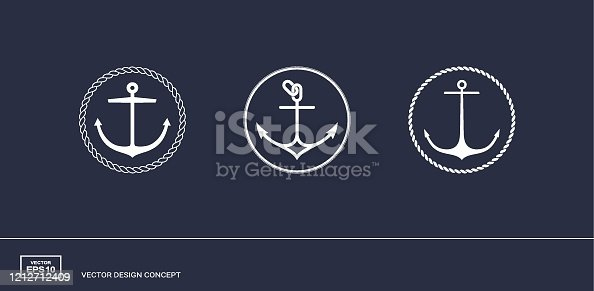 Set of anchor emblems with circular rope frame. Modern minimal flat design style. Simple logotype templates. Vector illustration.