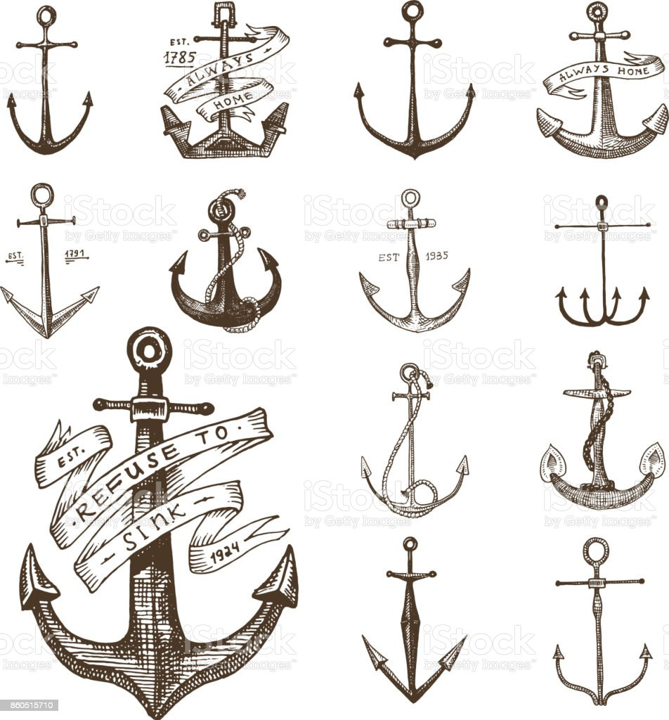 Anchor engraved vintage in old hand drawn or tattoo style, drawing for marine, aquatic or nautical theme, wood cut, blue logo vector art illustration