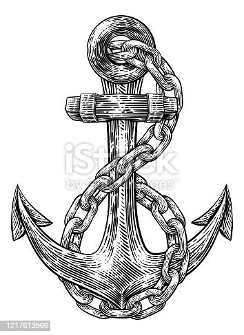 An anchor from a boat or ship with a chain wrapped around it tattoo or retro style woodcut etching drawing in a vintage style