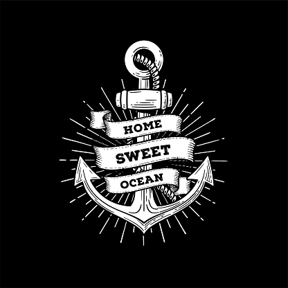 Anchor home sweet ocean black Vector illustration