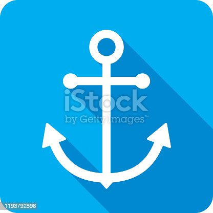 Vector illustration of a blue anchor icon in flat style.